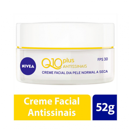 CREME FACIAL NIVEA Q10 PLUS ANTISSINAIS PELE NORMAL A SECA FPS30 50G